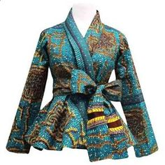 Style Stand out in our beautiful Diola African print blazer. This African print blazer features a teal and yellow African print, with a slimming peplum style fit. Pair this blazer perfectly wi African Inspired Fashion, African Print Fashion, Africa Fashion, African Print Dresses, African Fashion Dresses, African Dress, African Prints, Ankara Fashion, African Blouses
