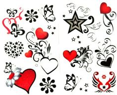 latest Popular and fashionable 1 package with 2pcs waterproof red heart black butterfly and star fake tattoos. Safe and non-toxic design ideal for body art. Professional grade made to last 3 to 5 days and easily transferred by water. Perfect for vacations, girls night, pool parties, bachelorette parties, or any other event you want to look glamorous.