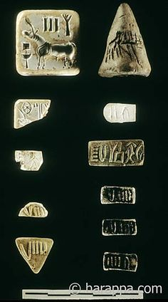 A collection of seals and tablets from a single house along the main street leading to the southern gateway of Mound E at Harappa. The association of these different types of objects together in one house show that some people, possibly merchants, were using a wide variety of inscribed objects.   Harappa Archaeological Research Project.