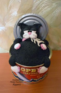 Stuffed with tuna….fat cat rests on the empty tuna can