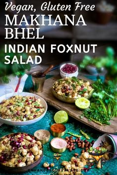 Makhana BhelPuri, an Indian snack that is sure to tantalize your taste buds! Delicious and nutritious snack that takes only 15 minutes to prepare. Nutritious Snacks, Savory Snacks, Healthy Snacks, Vegetarian Appetizers, Appetizer Recipes, Vegetarian Recipes, Salad Recipes, Indian Salads, Cooking For Beginners