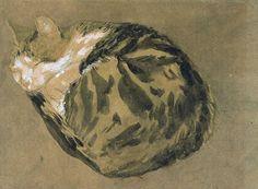"""Cat (""""Edgar Quinet"""") 1904 - 08 Gwen JOHN British, watercolor, Tate Britain Museum, London, England"""