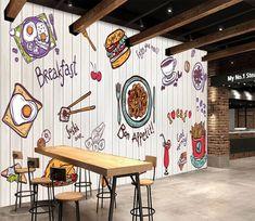 Noodle Fries 973 - Wallpaper World Coffee Shop Interior Design, Coffee Shop Design, Cafe Design, Mural Cafe, Cafe Wall, Small Restaurant Design, Restaurant Interior Design, Cafe Geek, 3d Wall Murals