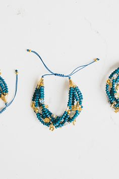 Charm Crystal Bead Bracelet in Azzure - Bohemian Traders Pty Ltd