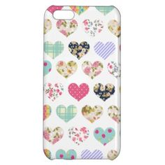 Cute Vintage Floral Hearts Quilt Pattern iPhone 5C Case by GirlyTemplate