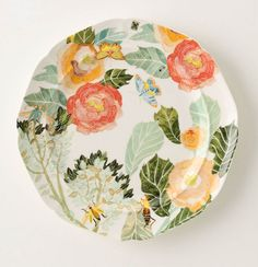 Want to add some colorful pieces to my ivory PB everyday dinnerware. These would work perfectly -watercolor petals dinnerware- anthropologie ofcourse Dinner Plates, Dessert Plates, Dinner Ware, Party Plates, Color Inspiration, Color Schemes, Decorative Plates, Palette, Crafts