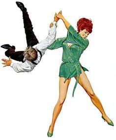 A femme fatale thrashing.. art Robert McGinnis