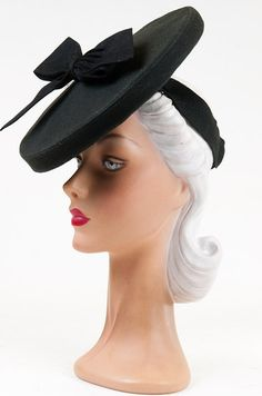 40s OTT Dramatic Black Felt Saucer Hat with Back Band and Bow Feature. | eBay