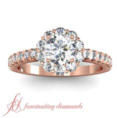Round Cut Diamond 14K Rose Gold Halo Engagement Ring in Pave Setting    Petal Halo Ring