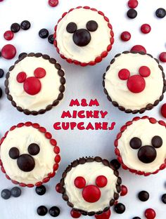M&M Mickey Cupcakes - so adorable and so easy to make! A great dessert for a Mickey Mouse Party, a fun baking activity to do with your kids or a nice treat for that Disney Fan in your life.  For more great Mickey Mouse Party Ideas follow us at https://www.pinterest.com/2SistersCraft/