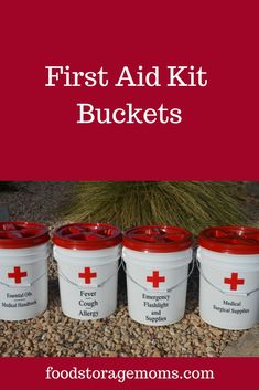 First Aid Kit Buckets - Food Storage Moms This is a fairly inexpensive way to get started with your emergency preparedness supplies. Start with some buckets and fill them when your budget allows Emergency Preparedness Checklist, Emergency Preparedness Food, Emergency Preparation, Survival Prepping, Survival Skills, Emergency First Aid Kit, Hurricane Preparedness, Emergency Planning, Emergency Food Storage
