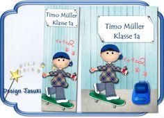 Hülle f. Hausaufgabenheft, Skater + Lesezeichen von Jasuki auf DaWanda.com