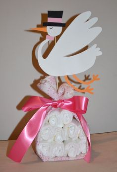 Stork Diaper Cake Made to Order for Any Gender. $25.00, via Etsy.