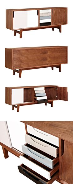 Liven up your home office or living room with this stunning Grayscale Sideboard. Made with a solid walnut base and and a gorgeous wood veneer, this sideboard is accented with intriguingly finished door...  Find the Grayscale Sideboard, as seen in the Mid-Century Modern Ski Trip Collection at http://dotandbo.com/collections/mid-century-modern-ski-trip?utm_source=pinterest&utm_medium=organic&db_sku=115624