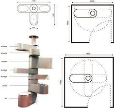 Swiss-Army Bathroom: Spine-Inspired Space-Saving Design / Design specs