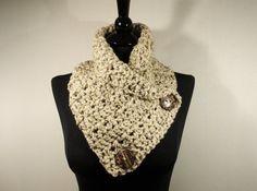 Oatmeal Crochet Scarf Womens Scarf Cowl Button by VillaYarnDesigns