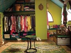 One of the stylish closets from the 2012 campaign. ( I love attic-like rooms and even though I don't love these colors it's very well done. This room is just so awesome!)