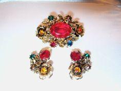 Vintage Austrian Rhinestone Brooch and Earrings Set by CMJgems, $25.00