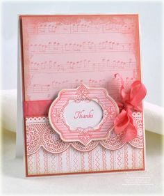 card designed by Debbie Olson using JustRite Always & Forever, Shabby Music Background, Stitched Ribbon Background, and Classic Scallop Borders One