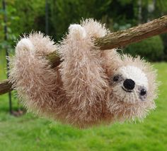 Beatiful sloth. My bestselling ever knitting pattern - worked in King Cole Tinsel yarn. Digital knitting pattern for this toy available as instant download in my Etsy store. Please see link.