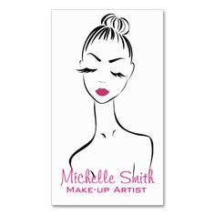 Business card with a beautiful fashion style girl face on a white background. Perfect for your company promotion. Suitable for make-up artists, cosmetologists, lash extension, hairdressers, stylists, spa salon , hair and beauty salon or model agency. Customizable.