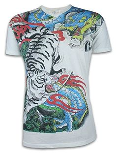 288fe609be98e9 Ako Roshi Herren T-Shirt Tora to Ryu - Tiger   Drache Größe M L XL  Kampfsport Tattoo Japan  Amazon.de  Bekleidung