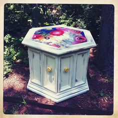 Poppies Hexagon Side Table by knickknackaustin on Etsy, $220.00 i can make that ..