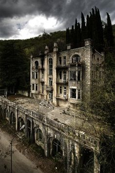 Abandoned hotel Skala in the Gagri mountains, Abkhazia...I want to buy this and renovate it...it would be expensive, but beautiful