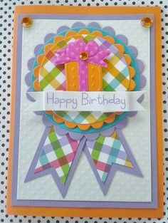 Birthday Card Handmade Bright and cheery  by chucklesandcharms