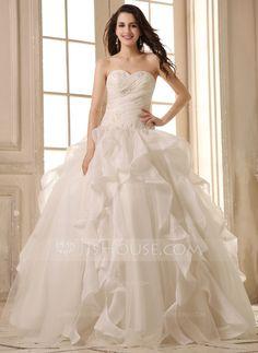 Balklänning Hjärtformad Golvlång Satäng Organzapåse Bröllopsklänning med Pärlbrodering Applikationer Spetsar Svallande Krås (002026595) 2338kr