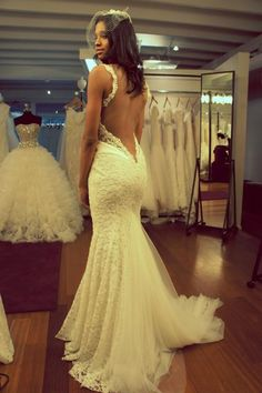 Fitted lace v-back wedding dress