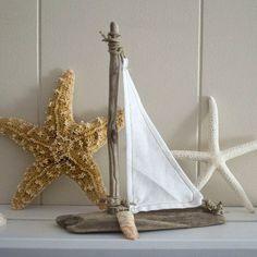 Driftwood sailboat - beach house, cottage decor