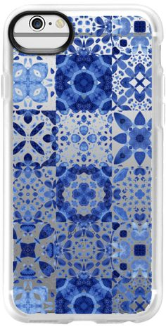 Casetify iPhone 7 Classic Grip Case - Indigo Watercolor Tiles by nic squirrell #Casetify