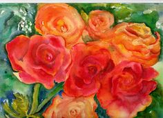 Original Watercolor Red and Cream Roses by SharonFosterArt on Etsy, $18.00