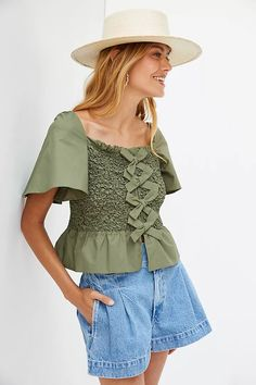 Smocked Bow-Tie Tank | Anthropologie 50 Fashion, Petite Size, Smocking, Anthropologie, Bell Sleeve Top, Bows, Pullover, Green, Cotton