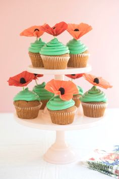 Poppy Cupcake Toppers | Oh Happy Day!