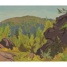 A.J. Casson - Diamond Lake 9.5 x 11 Oil on board (1976) Diamond Lake, Tom Thomson, Group Of Seven, Fine Art Auctions, Global Art, Source Of Inspiration, Art Market, View Image, Green And Gold