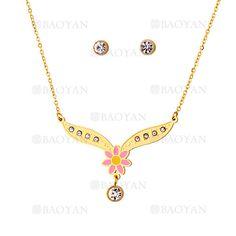 juego collar y aretes de flor rosado con cristal en acero dorado inoxidable -SSNEG503518