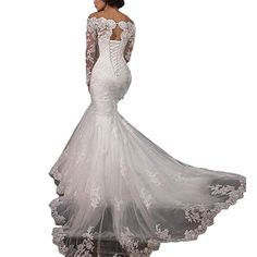 9bc635453e Enjoy exclusive for LUBridal 2018 Lace Mermaid Wedding Dresses Applique  Beaded Long Sleeve Wedding Gowns Formal online - Offerdressforyou