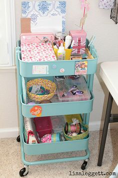 Raskog cart from IKEA used to organize a craft room