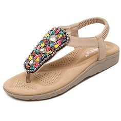 Meeshine Womens Summer Thong Flat Sandals TStrap Bohemian Rhinestone Slip On Flip Flops Shoes 6 BM US Retro Apricot -- Find out more about the great product at the image link.-It is an affiliate link to Amazon. #WeddingShoes