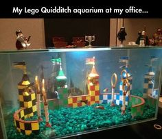 Rare Harry Potter legs quidditch setup in fish tank