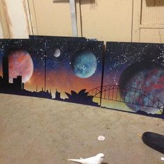 SPRAYPAINT ON CANVAS.. Sydney at night.. Set of four .. To go on merchandise for quirky happy art Suss my other pic from the other end.. #sprayart #artdeco #art #dopestyle #sydneyharbourbridge #sydney #sydneyoperahouse #space #bhd #boylanhotdesigns #spraycan #budgies #planets #skyline #siloette #quirkyhappy #quirkyhappyart #sunset by boylan_hot_designs http://ift.tt/1NRMbNv