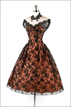Vintage 1950s Black Chantilly illusion lace dress with full skirt <3.<3.<3   from Mill Street Vintage on Etsy
