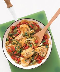 Golden Chicken With Tomatoes and Olives recipe from realsimple.com. #MyPlate #protein #vegetables