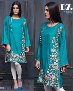Colors & Crafts Boutique™ offers unique apparel and jewelry to women who value versatility, style and comfort. For inquiries: Call/Text/Whatsapp Sleeves Designs For Dresses, Neck Designs For Suits, Dress Neck Designs, New Dress Design Indian, Pakistani Dress Design, Stylish Dresses, Simple Dresses, New Kurti Designs, Pakistani Dresses Casual