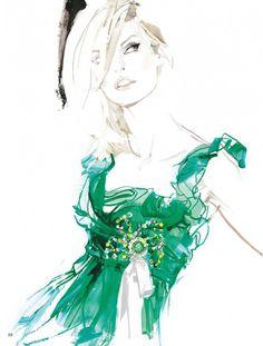 "Linda Evangelista in Christian Lacroix Haute Couture by David Downton, Paris, 2004 """