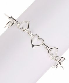 Another great find on #zulily! Silver & Crystal Heart Charm Link Bracelet #zulilyfinds