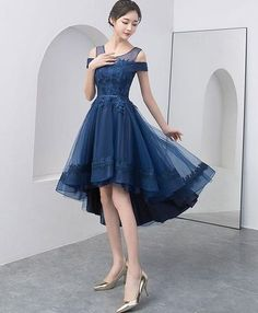 cc309be5350a Navy Blue Prom Dress with Appliques Beading