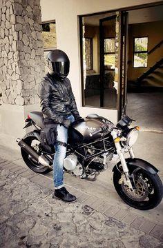 Ducati, black leather jacket, Costa Rica.